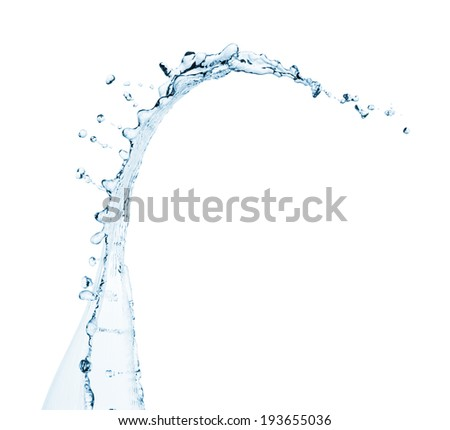 Clear water wave splash with drops. Isolated on a white