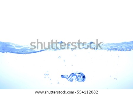 Clear water waves Isolated white background