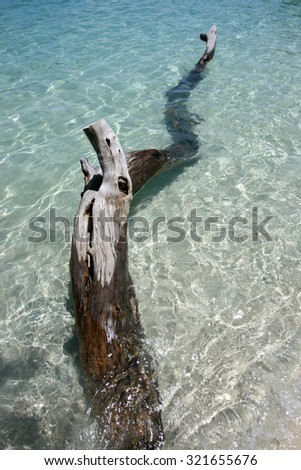 Clear water with white sand and Timber wreck on Lipe island in Satun, Thailand - stock photo