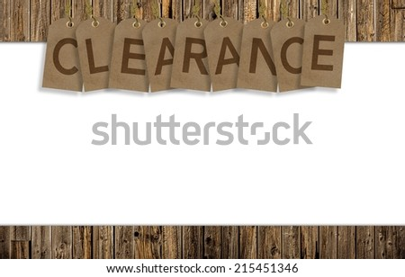 Clearance Background with Solid White Copy Space. Clearance Paper Tags.