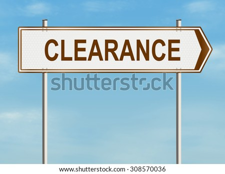 Clearance. Road sign on the sky background. Raster illustration. - stock photo
