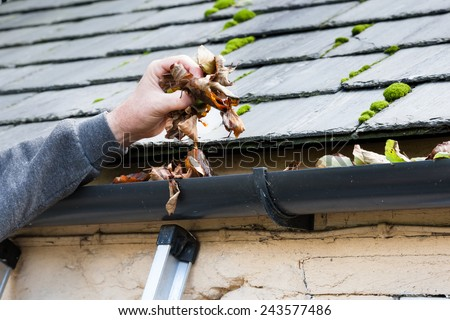 clearing blocked gutter of autumn leaves - stock photo