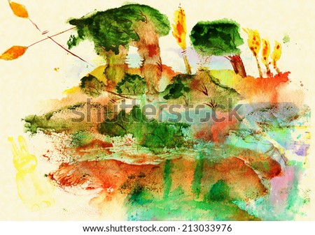 Clearing in the woods, watercolor naive style - stock photo