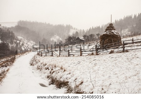 Clearing Snow Storm in the Rocky Mountains. - stock photo