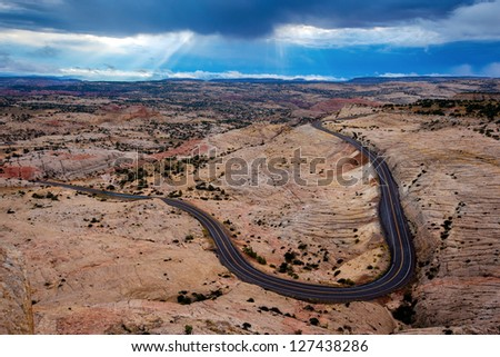 Clearing Storm over Highway 12, Grand Staircase Escalante National Monument, Utah - stock photo