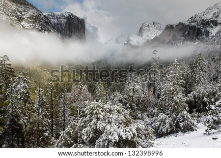 Clearing storm over Yosemite Valley, Yosemite National Park, California - stock photo