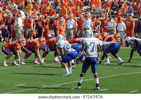 CLEMSON, SC - SEPT. 11: Clemson's Kyle Parker at the line of scrimmage on September 11, 2010 in Clemson, South Carolina.  Clemson defeated Presbyterian 58-21.