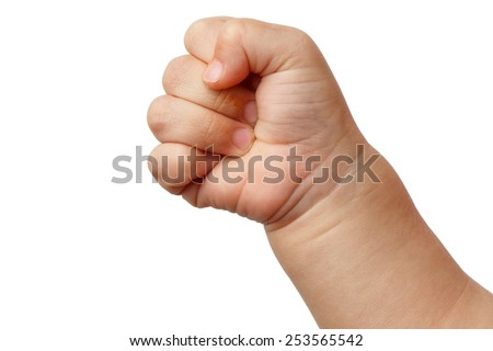 Clenched fist - hand of child, baby power. Close up of a child's fist on white background. Alpha. - stock photo