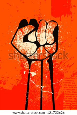 clenched fist hand.  Revolution - stock photo