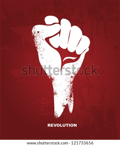 Clenched fist hand.  Revolution concept - stock photo
