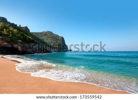 Cleopatra beach and  ancient fortress in Alanya, Turkey  - stock photo