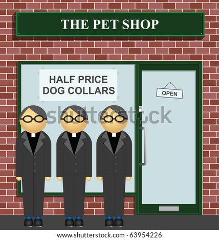 Clergy queuing for half price dog collars at the pet shop - stock photo