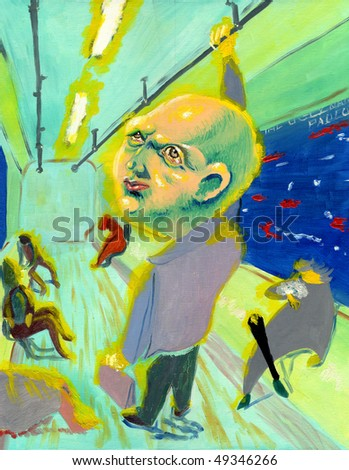 Clerk in the subway with headache - stock photo