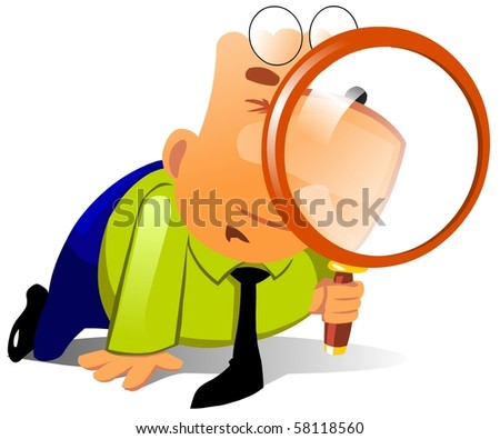 Clerk with big magnifying glass look for something. - stock photo