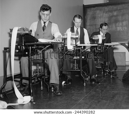 Clerks at the Farm Credit Administration working on Civilian Resource Conservation CCC Program reports. 1937. - stock photo