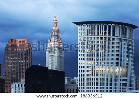 Cleveland evening time - Terminal Tower and the courthouse - stock photo