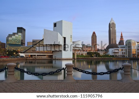 Cleveland. Image of Cleveland harbor district at twilight. - stock photo
