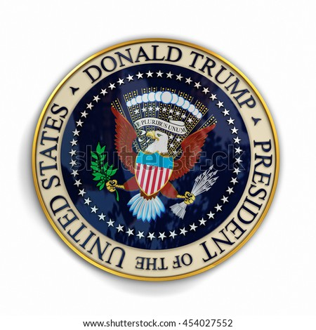 CLEVELAND, OH - July 18, 2016: Illustration of presidential seal with Donald Trump's name on it.