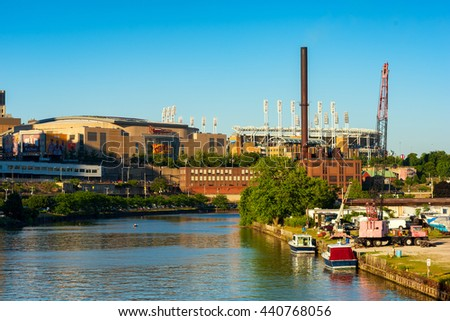 CLEVELAND, OH - JUNE 17, 2016: Quicken Loans Arena (the Q) from the Cuyahoga River. The Q is the home of the new NBA champion Cavaliers; it will host the Republican National Convention in July. - stock photo