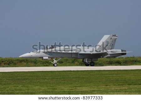 CLEVELAND, OHIO - SEPT. 3: F/A 18 Hornet fighter jet performs at the Cleveland National Airshow on Sept. 3, 2011 in Cleveland, Ohio. - stock photo