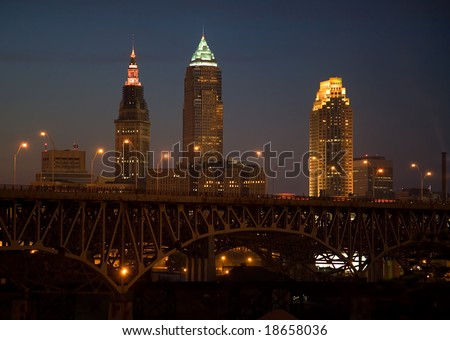 Cleveland Ohio Skyline pictured from the Tremont Area