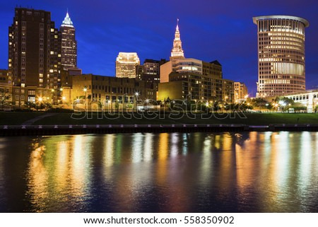 Cleveland skyline at night. Cleveland, Ohio, USA.