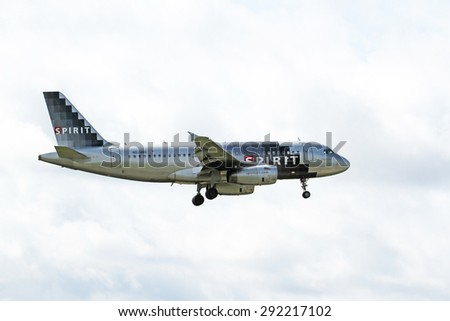 CLEVELAND, USA - JUNE 30, 2015: Spirit Airlines Airbus A319-132 at Cleveland Hopkins International Airport.