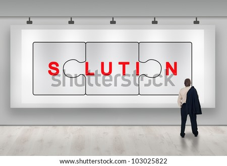 Clever business solutions advertisement banner with businessman looking - stock photo