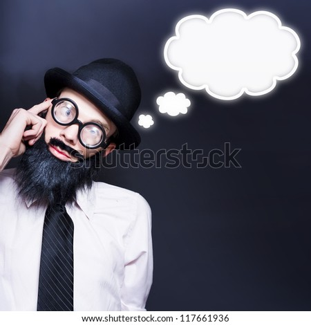 Clever Businessman Wearing Geek Glasses Dreaming Up Ideas Of Inspiration With Copyspace Thought Clouds - stock photo