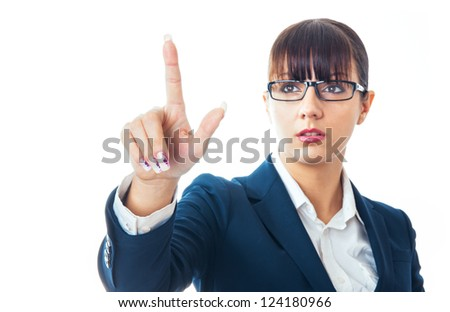 Clever businesswoman touching the button with her finger, isolated on white - stock photo