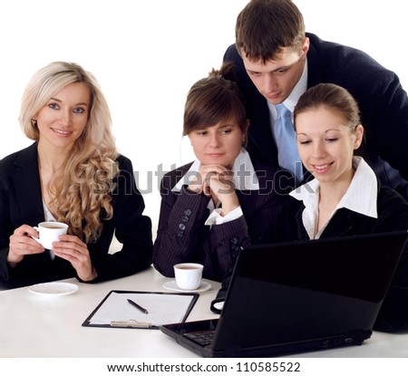 Clever entrepreneurs to discuss current issues and ways out of the situation - stock photo