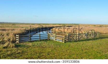 Cley marshes nature reserve north Norfolk. - stock photo