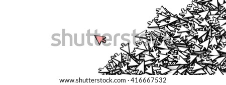 Click cursors background, 3d rendering, technology and media concepts - stock photo
