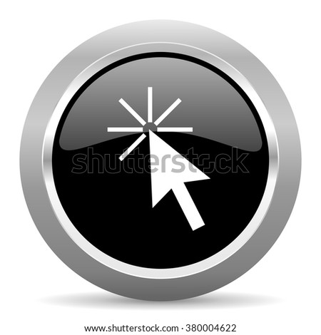 click here black metallic chrome web circle glossy icon - stock photo