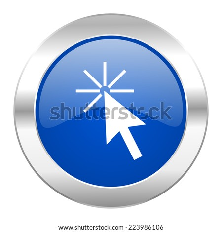 click here blue circle chrome web icon isolated  - stock photo