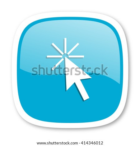 click here blue glossy icon - stock photo
