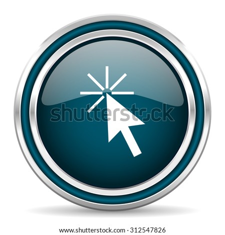 click here blue glossy web icon , round, circle, steel, silver, white, background,modern, shiny, glossy,    - stock photo