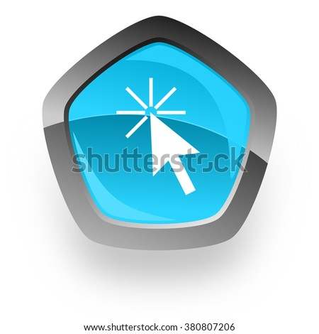click here blue metallic chrome web pentagon glossy icon - stock photo