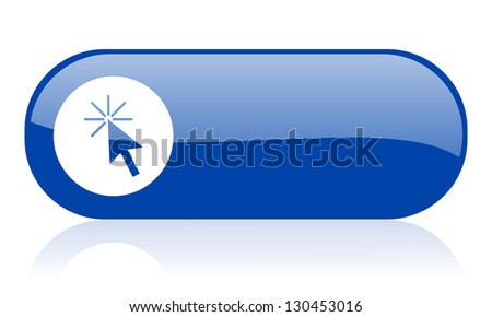 click here blue web glossy icon - stock photo