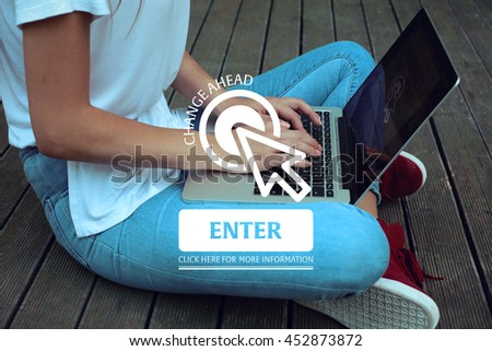 Click Here: Change Ahead - Enter Click Here More Information - stock photo