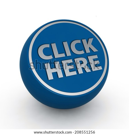 Click here circular icon on white background - stock photo