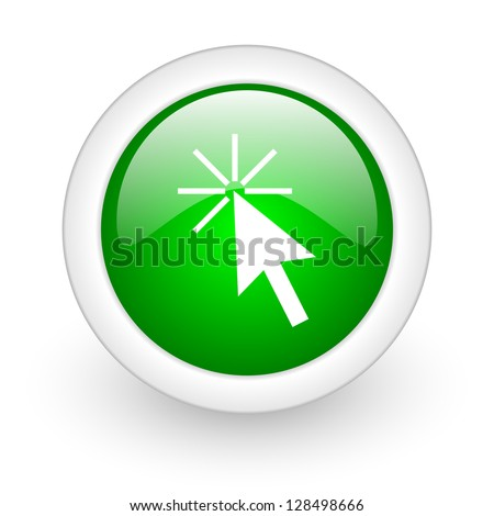 click here green circle glossy web icon on white background - stock photo