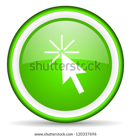 click here green glossy icon on white background - stock photo