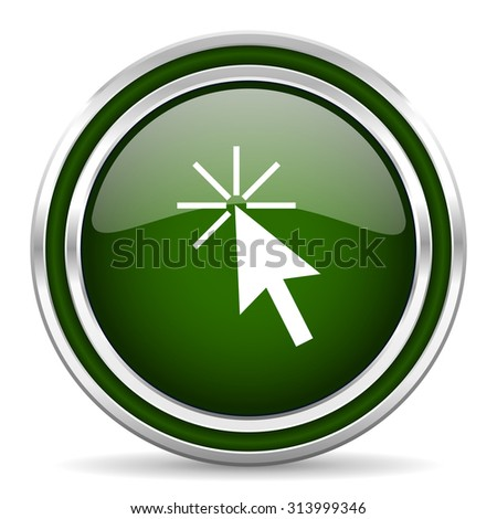 click here green glossy web icon modern design with double metallic silver border on white background with shadow for web and mobile app round internet original button for business usage