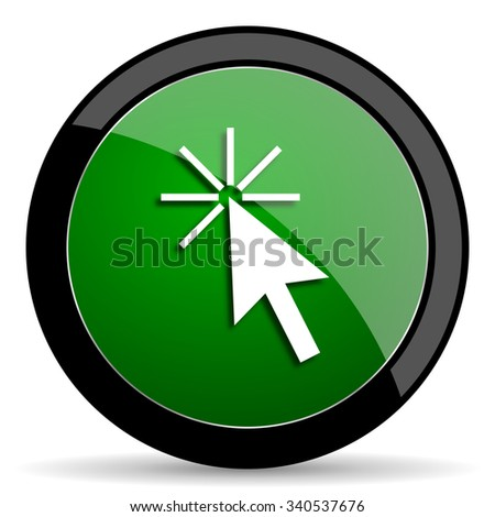 click here green web glossy circle icon on white background  - stock photo