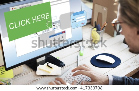 Click Here Membership Register Sign-up Subscribe Concept - stock photo