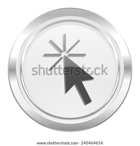 click here metallic icon   - stock photo