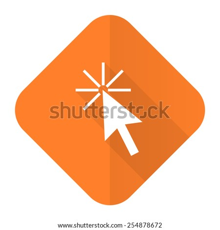 click here orange flat icon   - stock photo