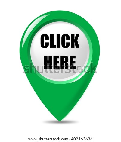 Click Here - promotional, modern pointer button on white background. - stock photo