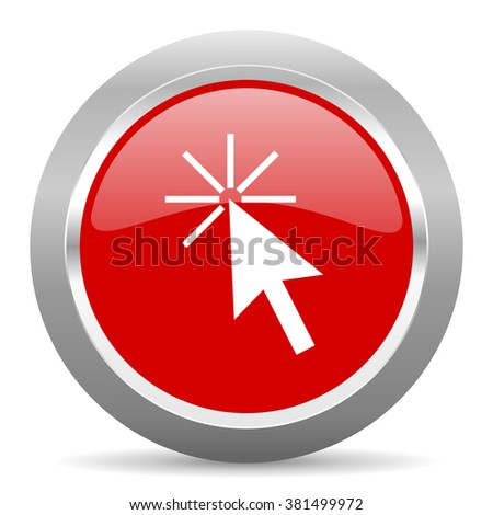 click here red chrome web circle glossy icon - stock photo